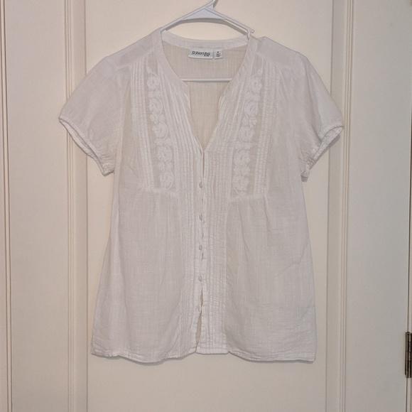 St. John's Bay Tops - White Detailed Button Down Shirt